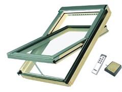 Энергосберегающее мансардное окно FAKRO FTT U6 Thermo: двухкамерный стеклопакет триплекс, система Z-Wave Умный дом