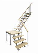 Комбинированная межэтажная лестница ЛЕС-05-3 (поворот 90°, высота 3 м)