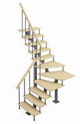 Модульная лестница Фаворит, серия «Классик» (с поворотом 90 градусов) высота 2025-2115 высота шага 225 мм