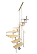 Модульная малогабаритная лестница Эксклюзив, серия «Квадро» (c поворотом на 180 градусов квадратный профиль) высота шага 225