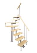 Модульная малогабаритная лестница Эксклюзив, серия «Квадро» (c поворотом на 90 градусов квадратный профиль) высота шага 225 мм