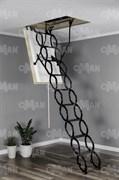 Металлическая раздвижная чердачная лестница OMAN Ножничная Тermo Super